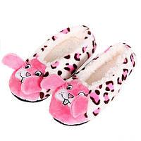 Тапочки балетки домашние женские комнатные теплые плюшевые Зайчики (розовые)