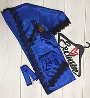 Синий атласный комплект для дома с кружевом, халат+майка+шорты.