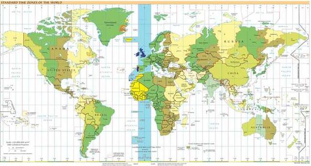карта часовых поясов мира - Линия перемены дат  (Dateline, или (иначе) International Date Line).
