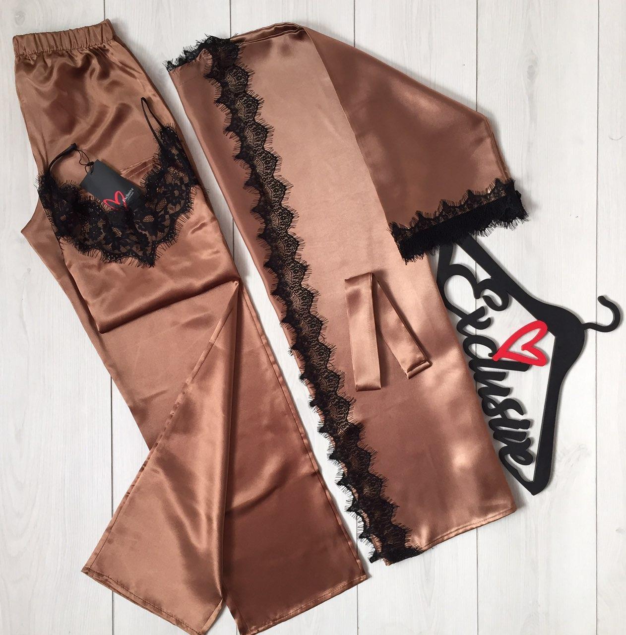 Комплект для дома халат майка и штаны