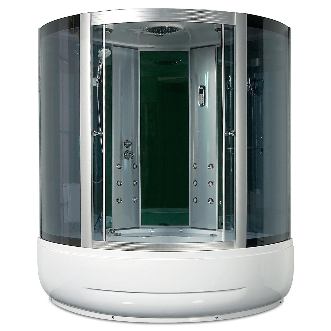 F39-3, гидробокс Miracle с панелью управления, 150 х 150 см, рама сатин, стекло серое
