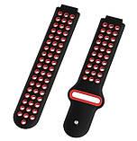 Спортивный ремешок с перфорацией Primo для часов Garmin Forerunner / Approach - Black&Red, фото 3