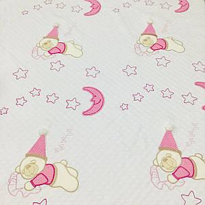 Плед детский, пике с аппликацией розовые мишки в колпаках (размер 1,2 м*1,5 м)