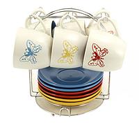 Сервиз чайный керамический 12 пр. Бабочка KL-8034-BU