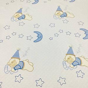 Плед детский, пике с аппликацией голубые мишки в колпаках (размер 1,2 м*1,5 м)