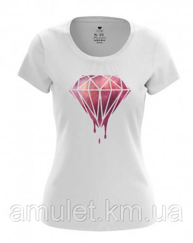 """Футболка женская летняя  """"Бриллиант"""" белый с розовым бриллиантом, M"""