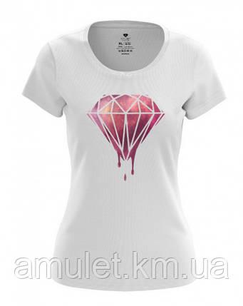 """Футболка женская летняя  """"Бриллиант"""" белый с розовым бриллиантом, M, фото 2"""