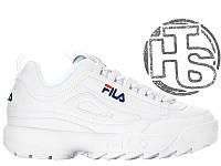 Мужские кроссовки Fila Disruptor II 2 Leather White Winter (с мехом) FW01655-111