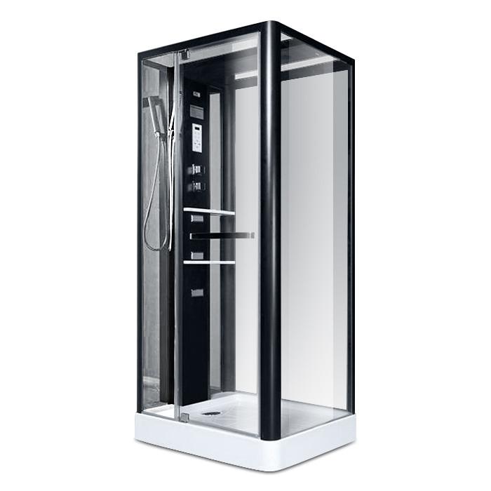 NA113-3A, гидробокс Miracle, 110 х 90 см, рама черная, стекло прозрачное, задняя стенка и крыша зеркальные