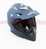 Шлем кроссовый HF-116 S- СИНИЙ матовый