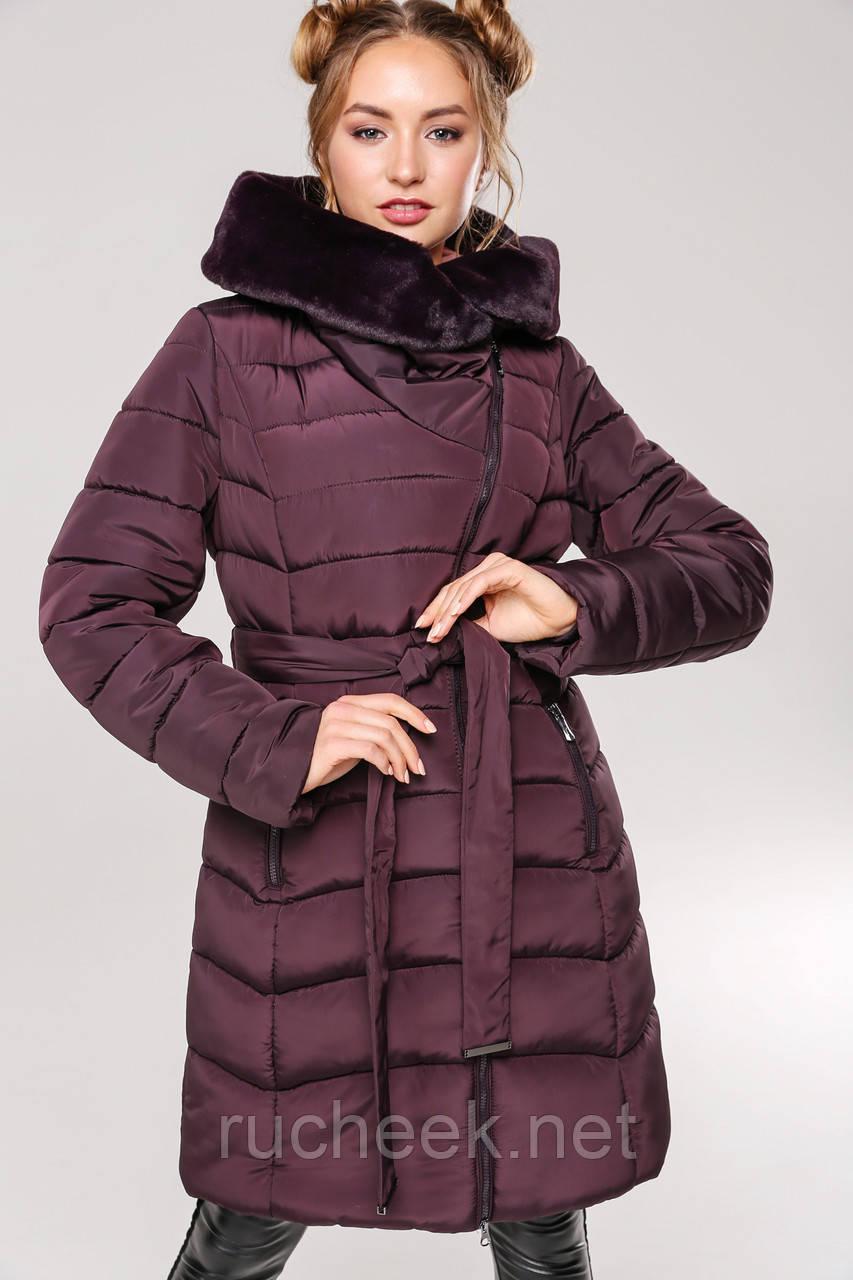 Женская зимняя куртка пуховик с мутоном Альмира 2, р-ры 42 - 56, ТМ NUI VERY, Украина