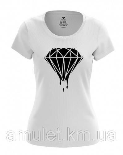 """Футболка жіноча """"Діамант""""М, білий з чорним діамантом"""