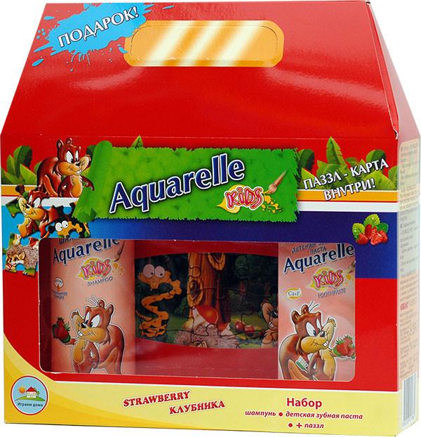 Подарунковий набір дитячий полуниця + пазли Aquarelle kids