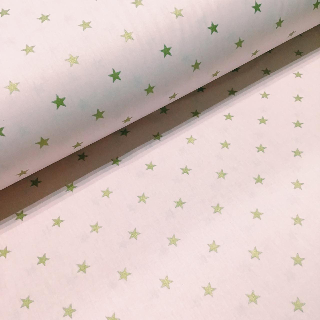 Ткань поплин звездочки золотые (глиттер) на розовом (ТУРЦИЯ шир. 2,4 м) №33-155