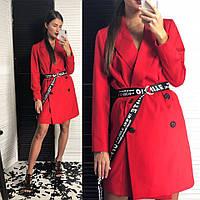 Платье-тренч модное стильное с поясом шелковой подкладке Smld2773, фото 1