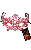 Ажурная карнавальная маска коралловая А-1069