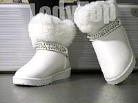 Женские Белые короткие Угги с опушкой р.38,39,40 , фото 1