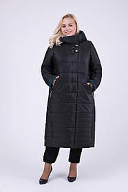 Женское зимнее теплое пальто в пол с капюшоном 697 / размер 52,54,56,60,64 / цвет черный+бирюза