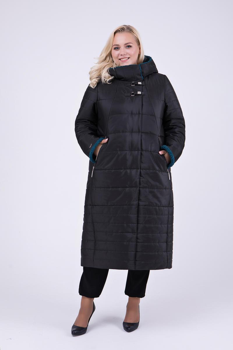 4782ba14505 Женское зимнее теплое пальто в пол с капюшоном 697   размер 56   цвет  черный+