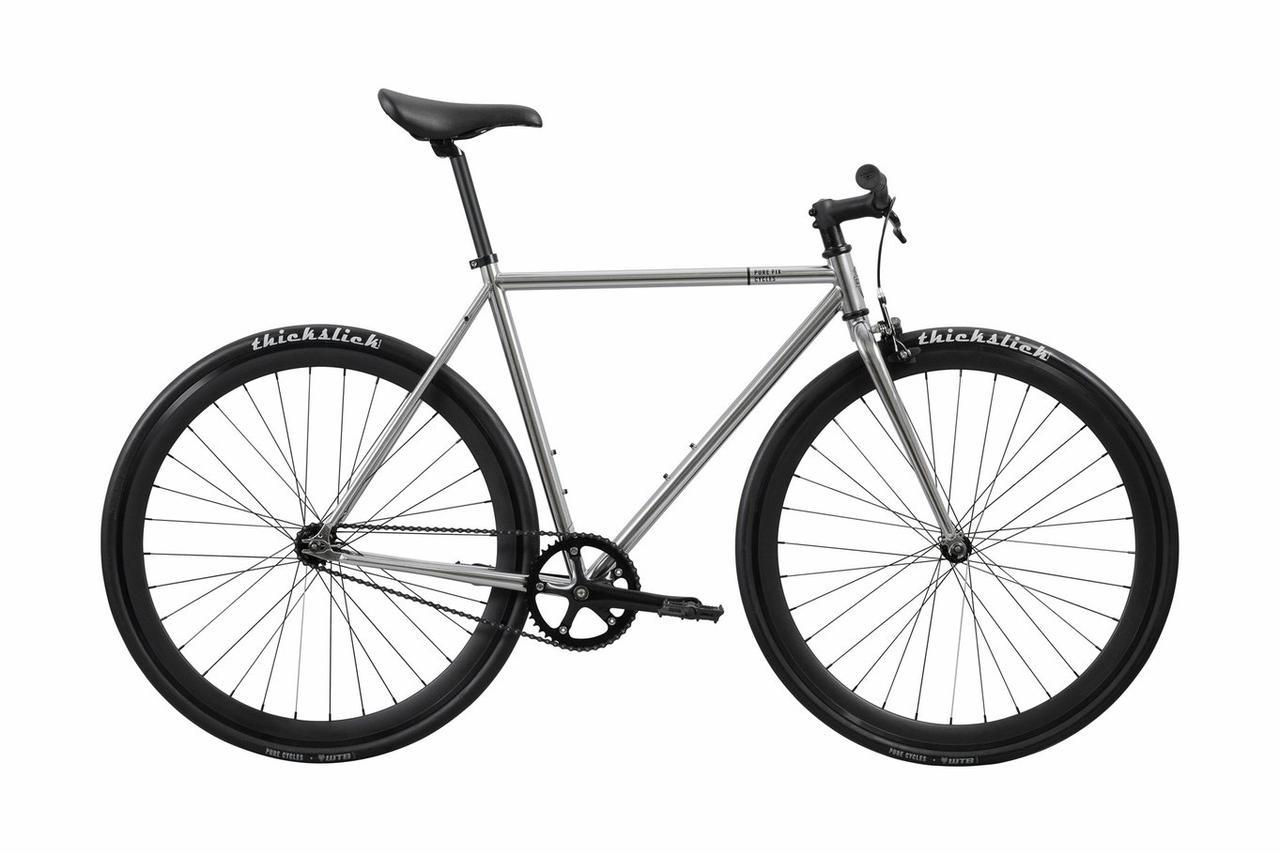 Велосипед Pure Fix Cycles Oscar54 Срібляста рама 54 см з матовими чорними колесами