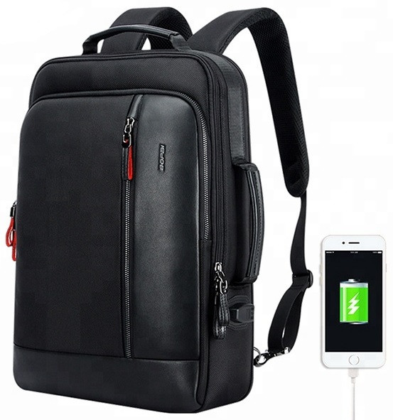 Рюкзак антивор Bopai 751-006641 2в1 с USB портом и отделением для ноутбука, черный, 26л