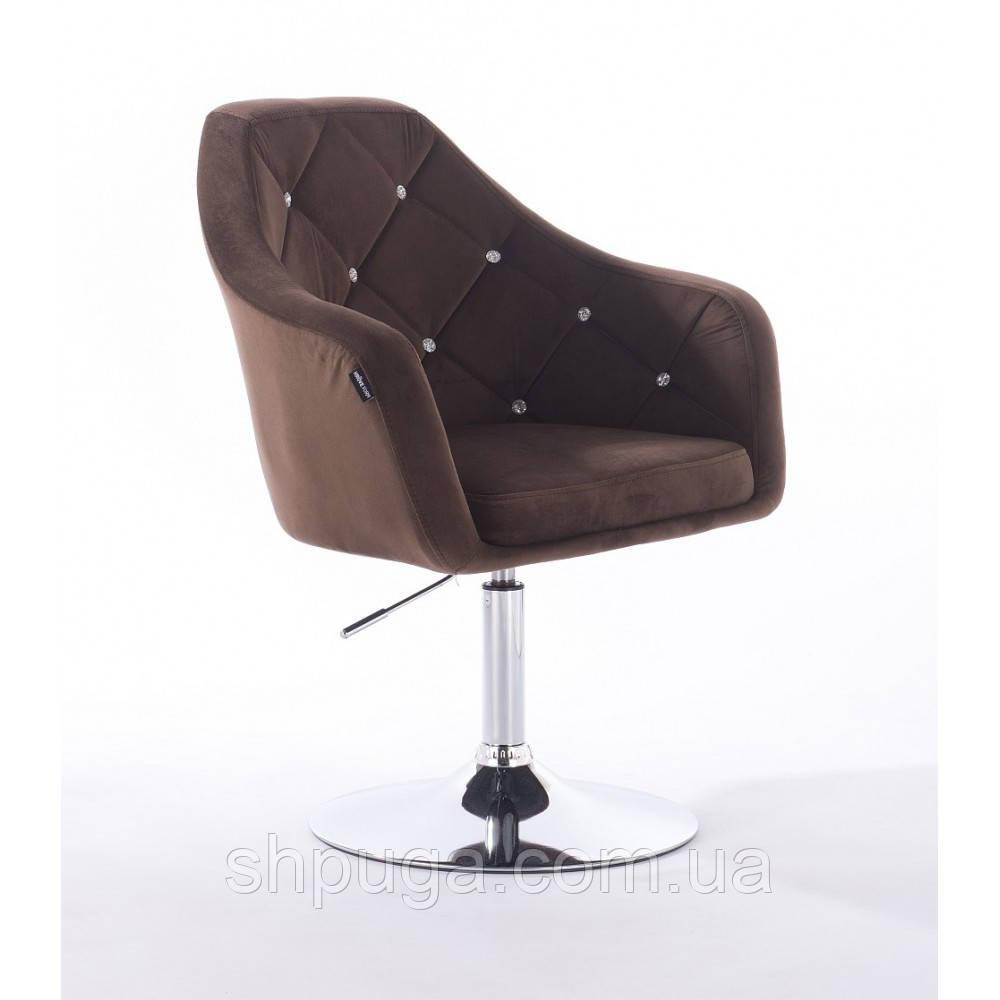 Кресло  830 коричневый  велюр
