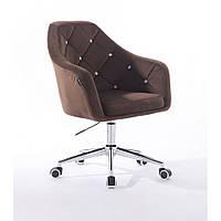 Кресло 830 коричневый  велюр, фото 1