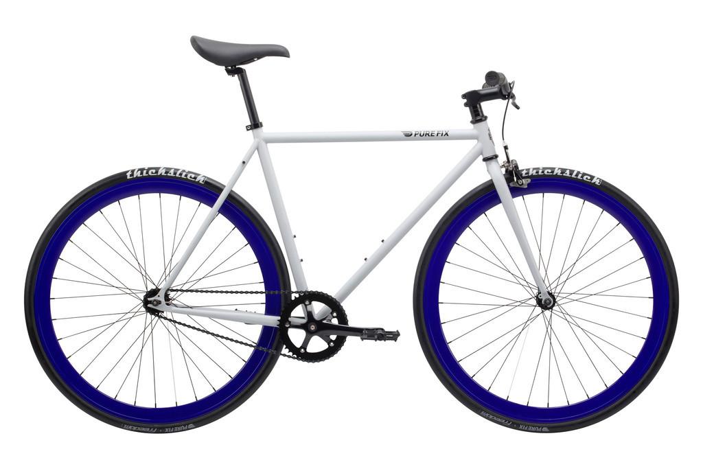 Велосипед Pure Fix Cycles Whiskey58 Сіра рама 58 см з синіми колесами