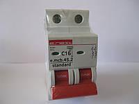 Автоматический выключатель e.mcb.stand.45.2.C16, 2р, 16А, С, 4,5 кА