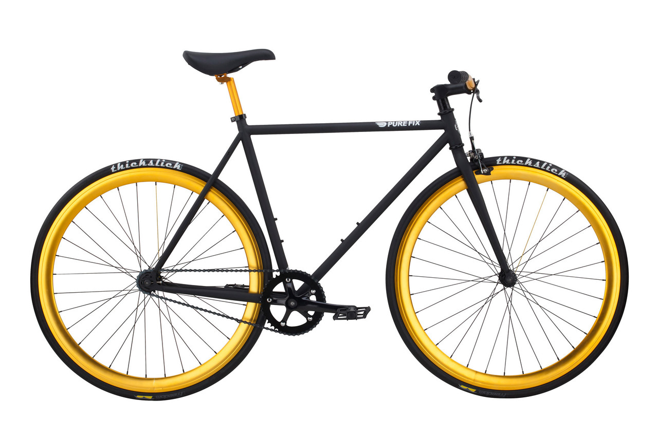 Велосипед Pure Fix Cycles India50 Чорна рама 50 см з колесами золотого кольору