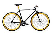 Велосипед Pure Fix Cycles India50 Чорна рама 50 см з колесами золотого кольору, фото 1