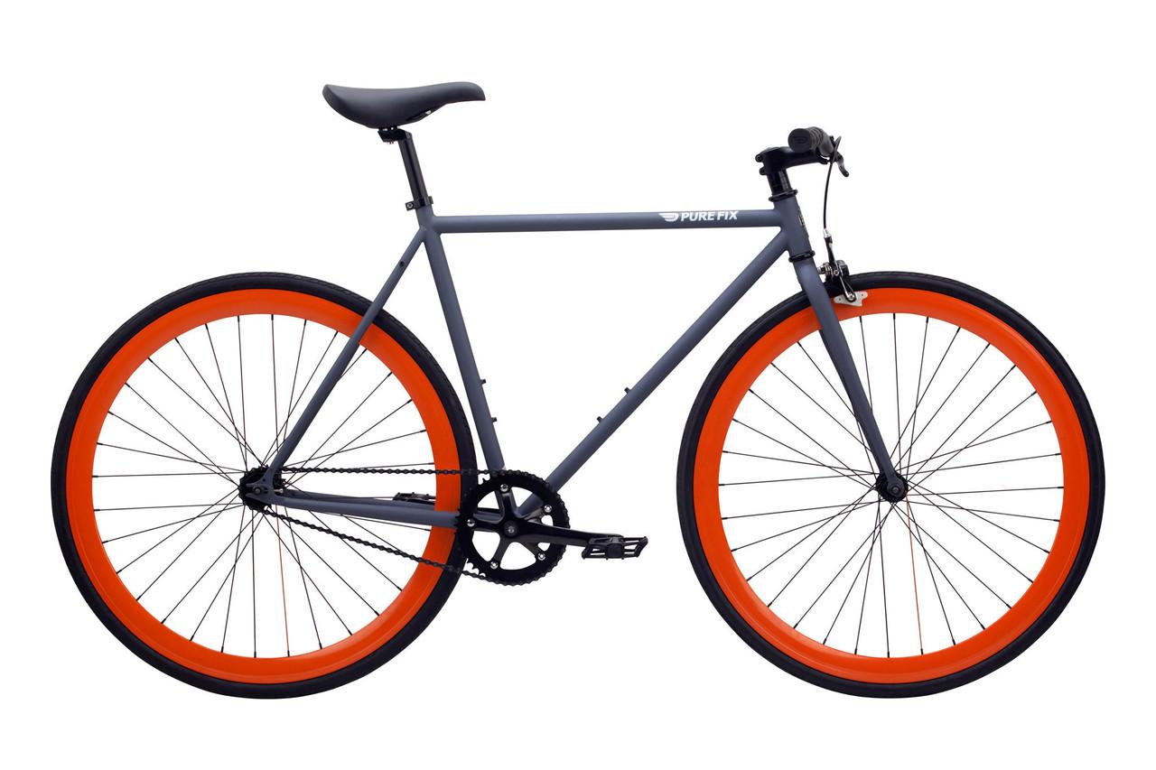 Велосипед Pure Fix Cycles Papa50 Матова Сіра Рама 50см з помаранчевими колесами