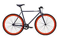 Велосипед Pure Fix Cycles Papa50 Матова Сіра Рама 50см з помаранчевими колесами, фото 1