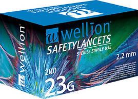 Безопасные одноразовые ланцеты Wellion 23g №200
