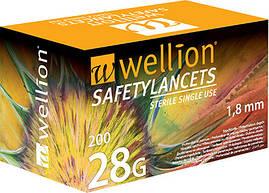 Безопасные одноразовые ланцеты Wellion 28g №200