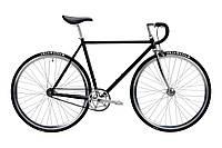 Велосипед Pure Fix Cycles Coolidge58 Глянцева чорна рама 58см з сріблястими колесами, фото 1
