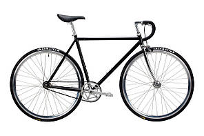 Велосипед Pure Fix Cycles Coolidge58 Глянцева чорна рама 58см з сріблястими колесами