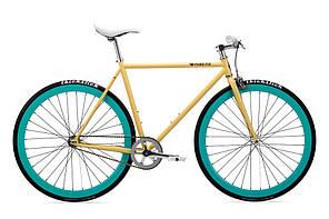 Велосипед Pure Fix Cycles X-Ray54 Кремова рама 54cm з зеленими колесами
