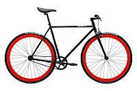 Велосипед Pure Fix Cycles Echo54 Матова чорна рама 54 см з червоними колесами, фото 1