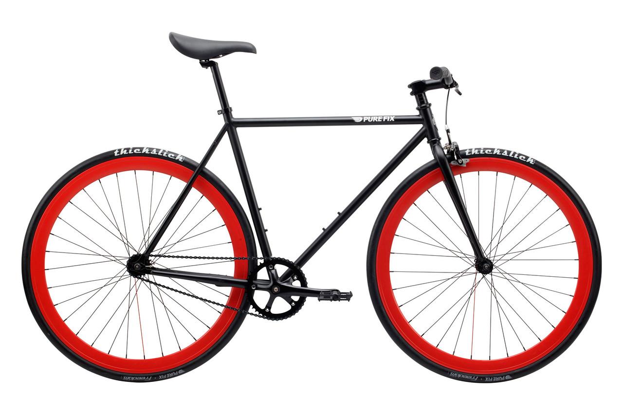 Велосипед Pure Fix Cycles Echo50 Матова чорна рама 50 см з червоними колесам
