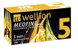 Иголки для инсулиновых шприц-ручек Wellion 0,25 мм (31G) × 5 мм №100