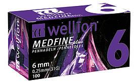 Иголки для инсулиновых шприц-ручек Wellion 0,25 мм (31G) × 6 мм №100