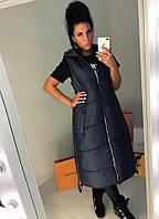 Женская модная жилетка-миди на молнии спереди и по бокам Батал, фото 1