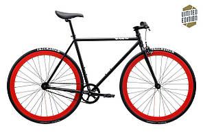 Велосипед Pure Fix Cycles Echo54Plus Матова чорна рама 54 см з червоними колесами