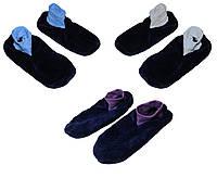 Тапочки - ботиночки женские домашние махровые 18205 Dark Blue длина подошвы 26-29 см