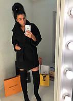 Женское короткое кашемировое пальто с рукавом 3/4 и накладными карманами, фото 1