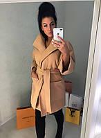 Женское короткое кашемировое пальто с рукавом 3/4 и накладными карманами Батал