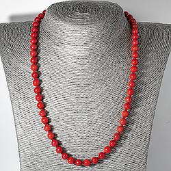 Червоний корал, Ø7 мм., намисто, 123ОК