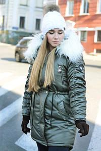 Зимняя женская куртка хаки парка на меху (белая лама)