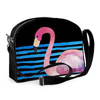 Сумка молодёжная College Фламинго на чёрном море (COL_TRO001_BL)